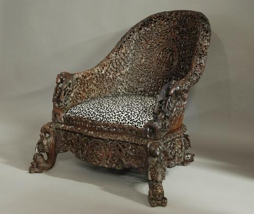 Carved hardwood armchair from Bombay, India