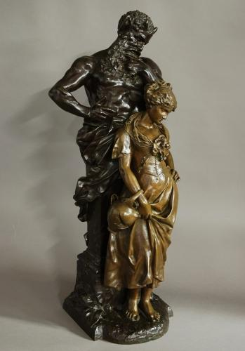 Large bronze of 'Pan with a young maiden'