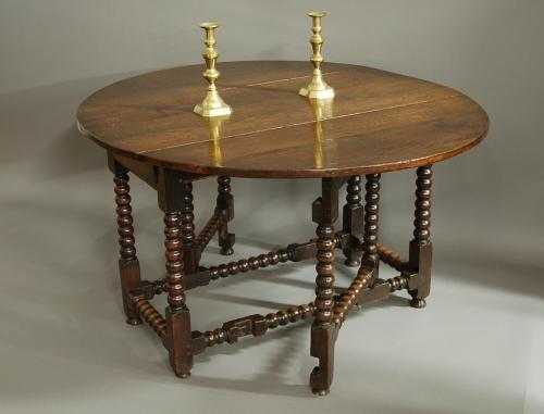 Large 17th century oak gateleg table