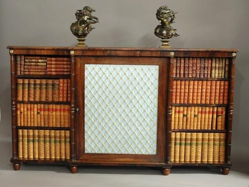 Regency rosewood breakfront bookcase