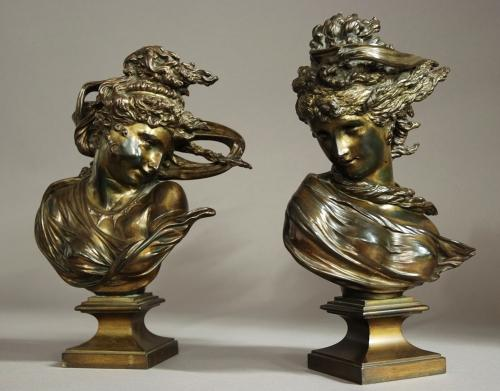 Pair of bronzes of windswept young ladies