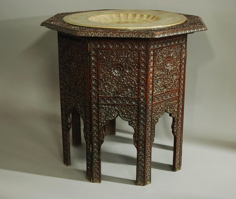 Large octagonal Indian hardwood table