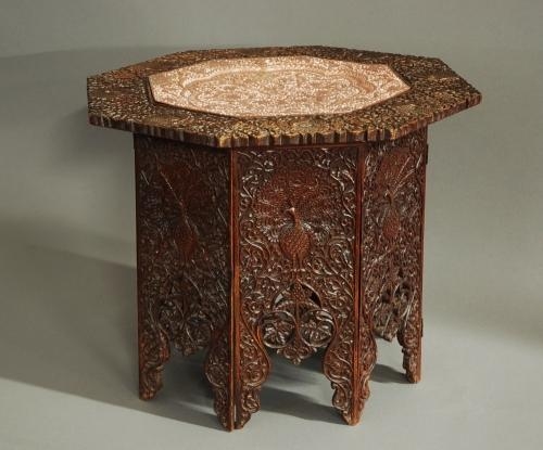 Indian hardwood table of octagonal shape