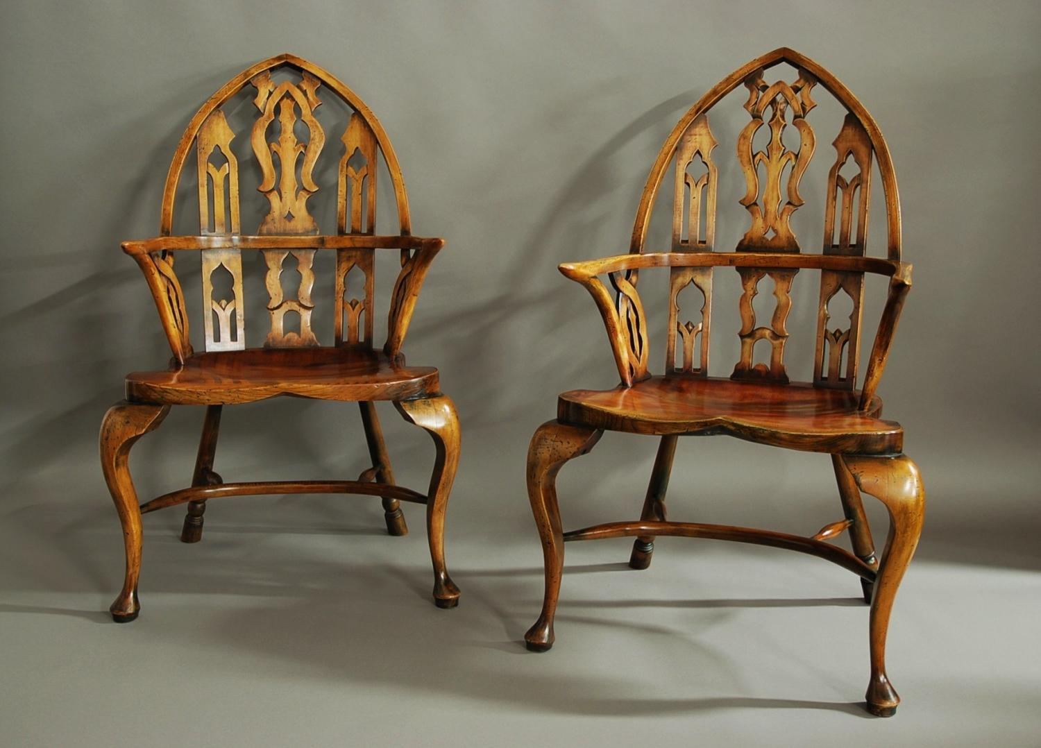 Large pair of Gothic style Windsor armchairs