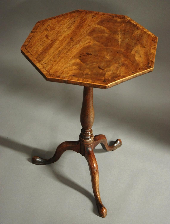 George III octagonal mahogany tilt top table