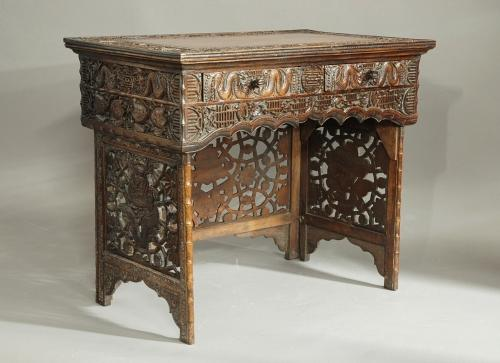 Late 19thc Chinese carved hardwood desk