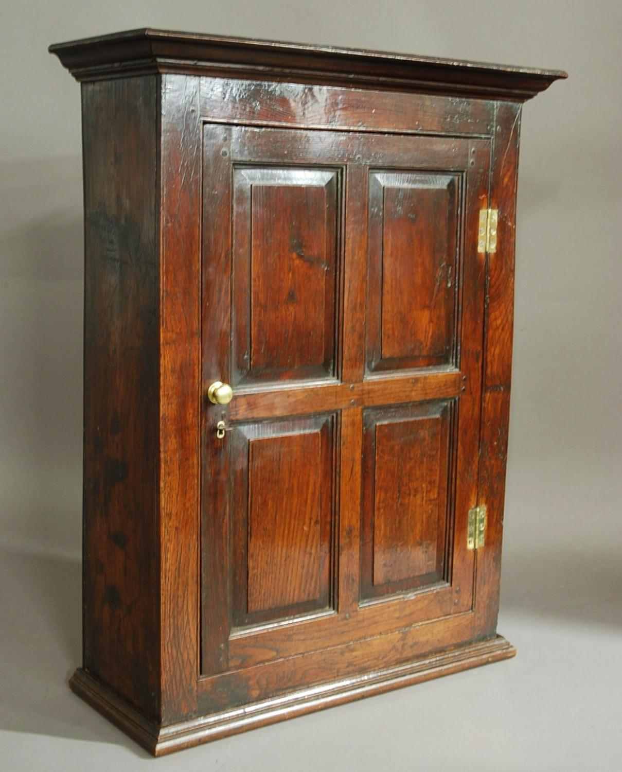 Early 18thc oak & fruitwood hanging cupboard