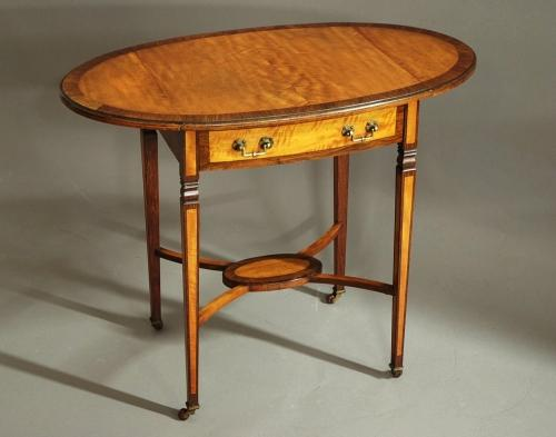 Satinwood & rosewood oval pembroke table