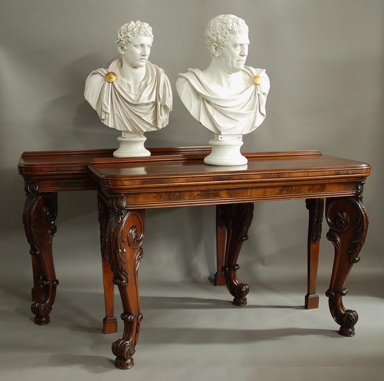 Superb pair of William IV console tables