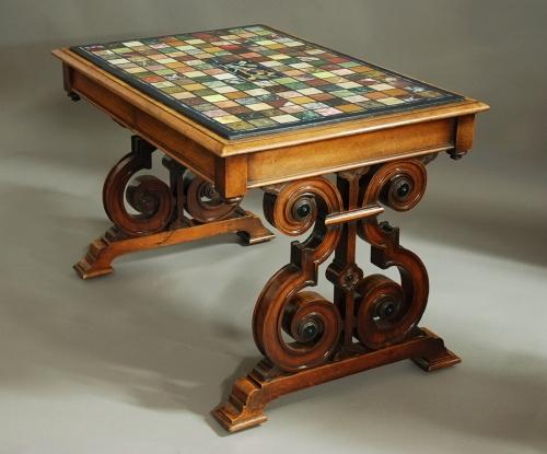 19thc specimen marble top walnut centre table