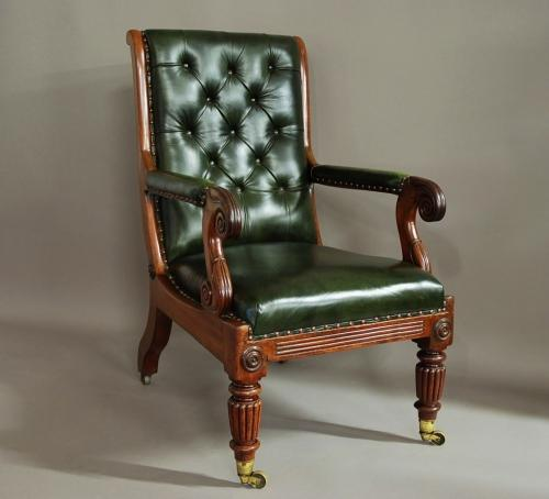 William IV mahogany and leather library chair