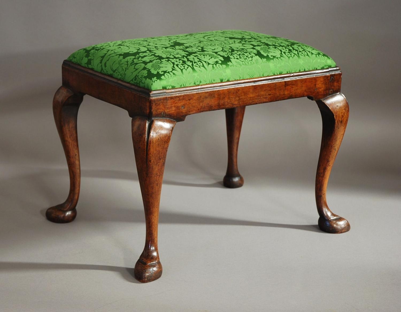 Walnut Queen Anne style cabriole leg stool