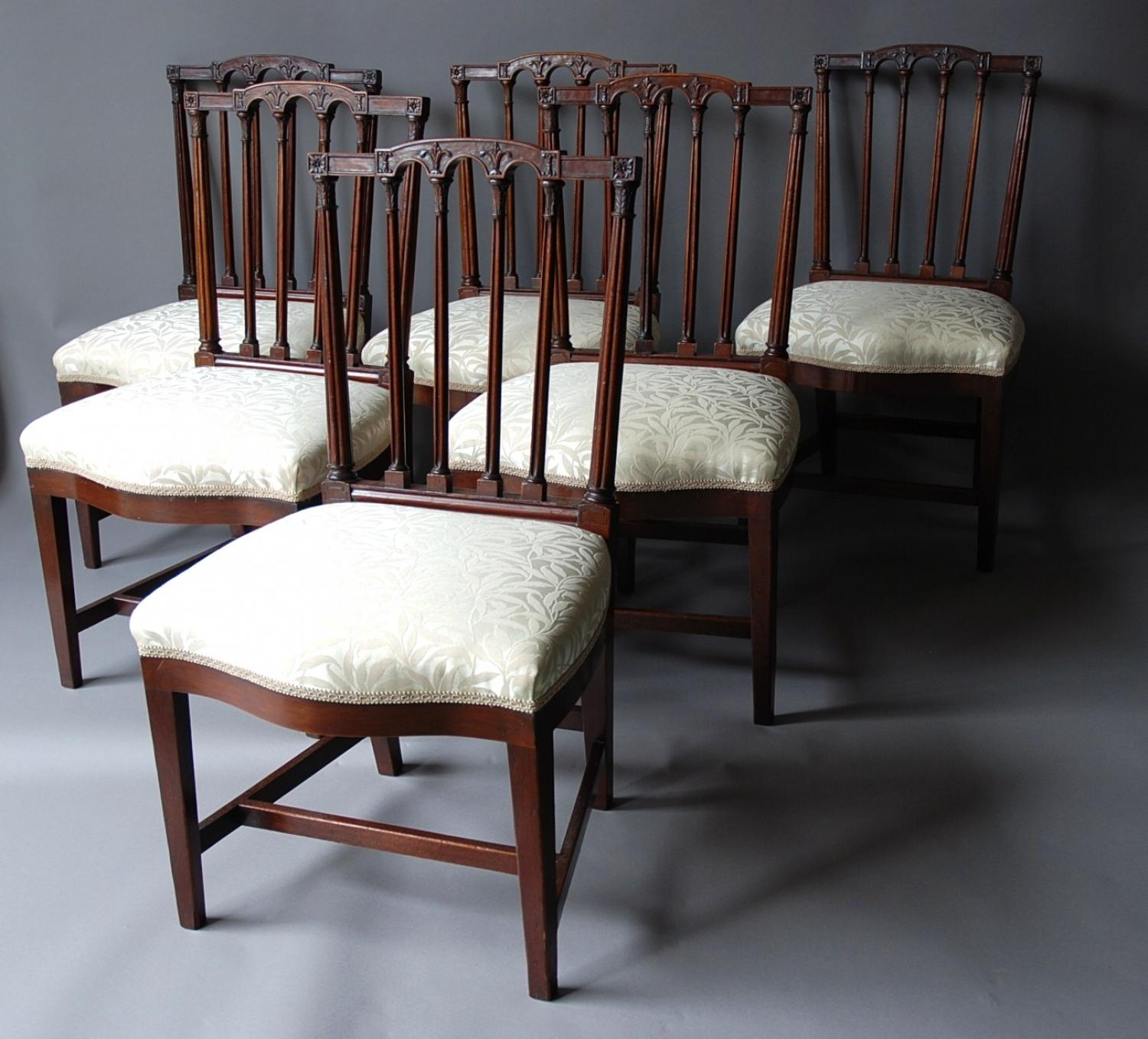 Set of eight mahogany dining chairs
