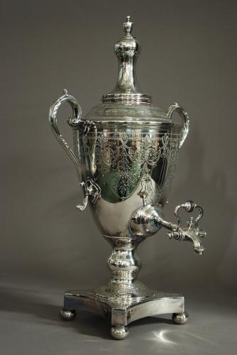19th century silver plate vase shaped tea urn