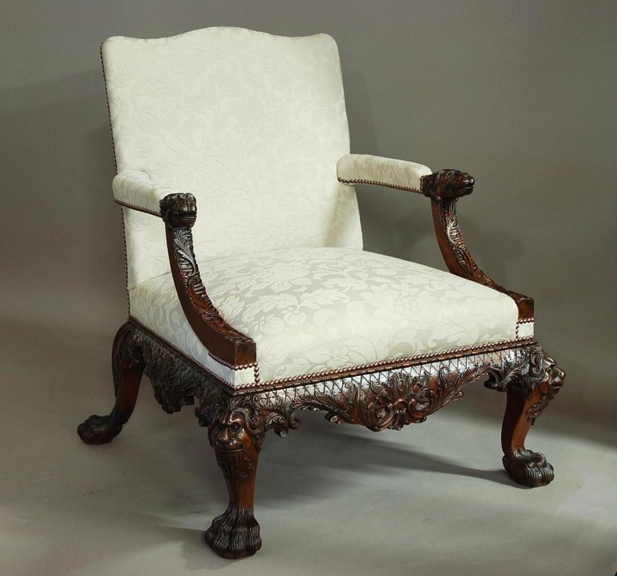 Superb quality Georgian style carved open armchair