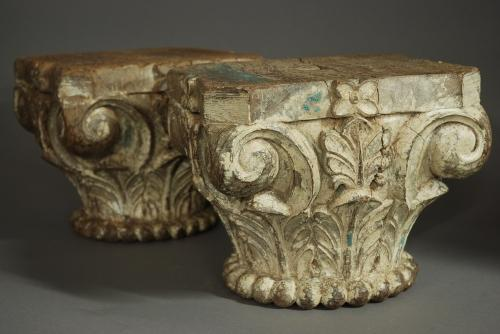Pair of late 19thc decorative carved capitals