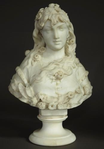 Late 19thc marble bust of a young lady