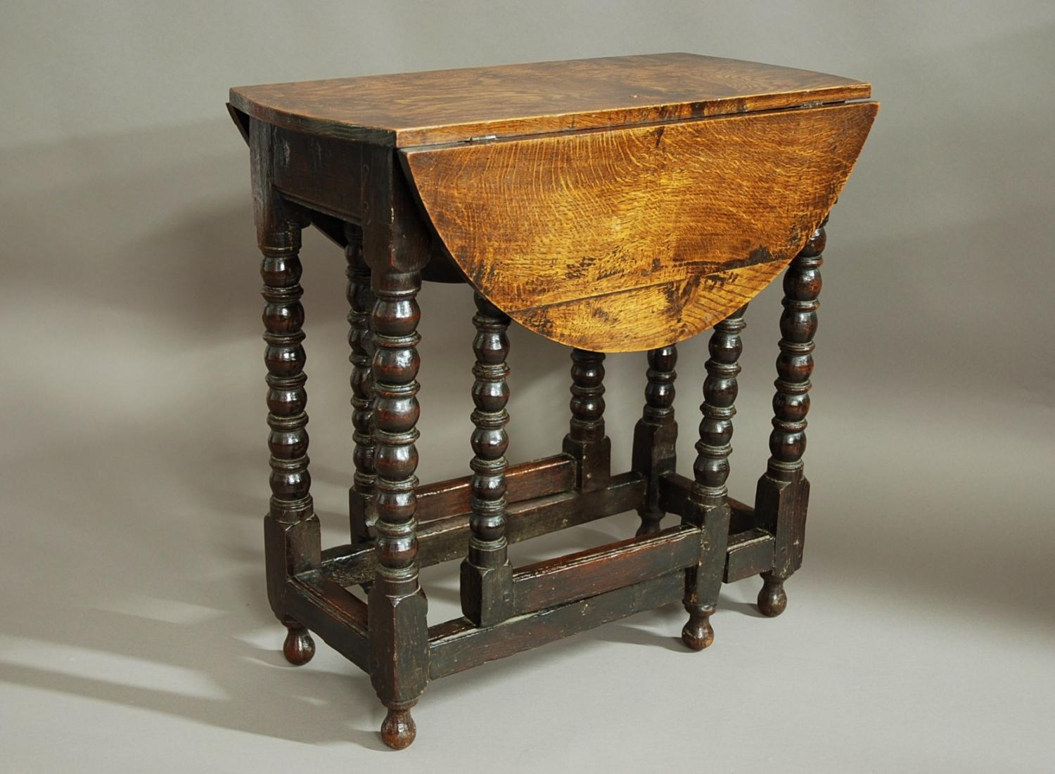 Rare 17thc gateleg table of small proportions