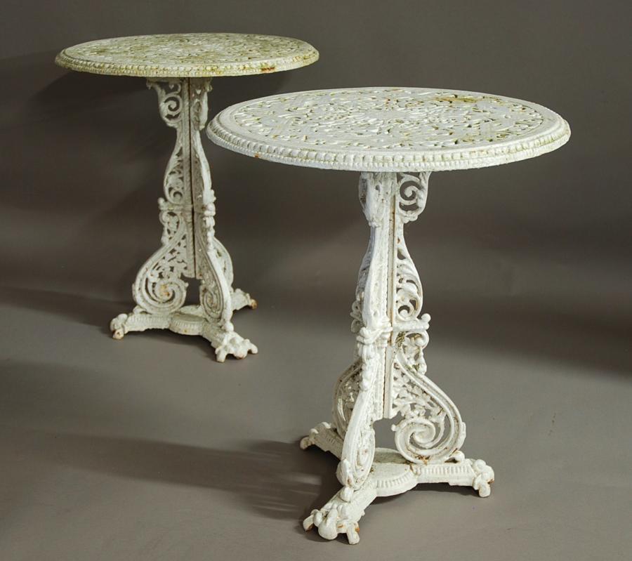 Rare pair of Coalbrookdale garden tables