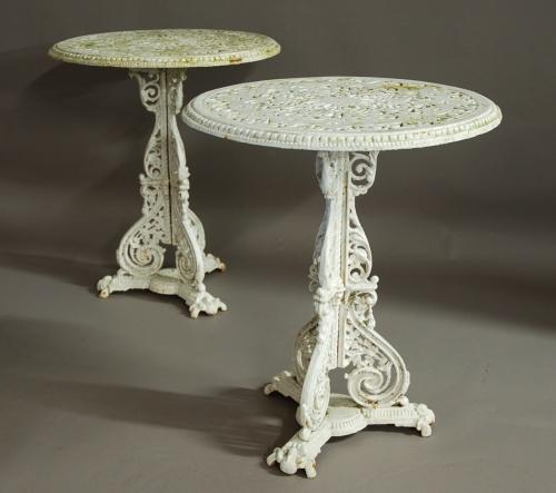 Rare pair of Coalbrookdale garden tables