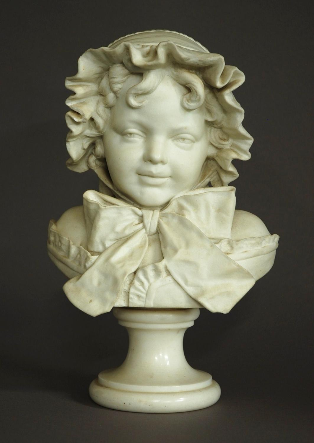 19thc carrara marble figure of a young girl
