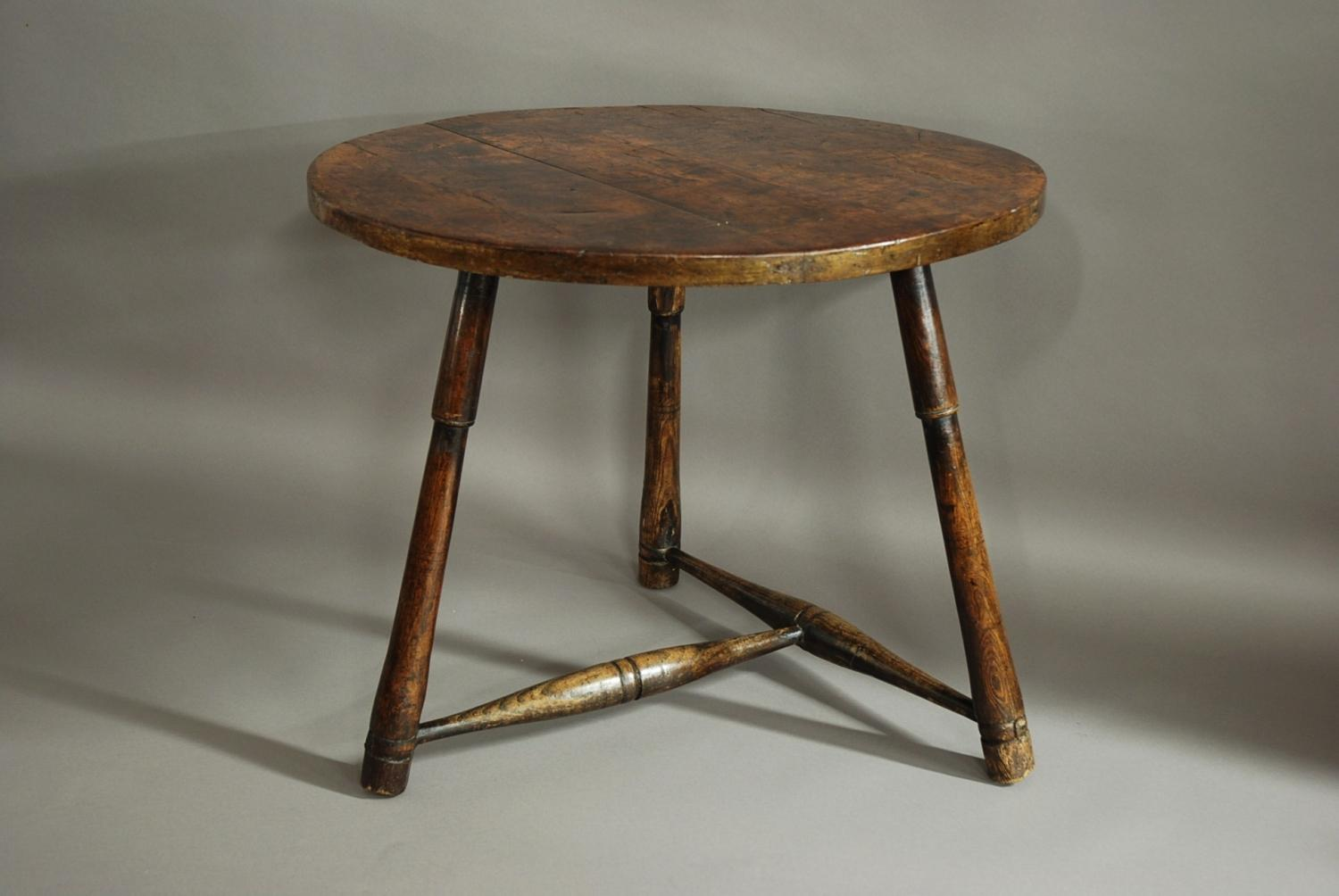 18th century fruitwood & elm cricket table