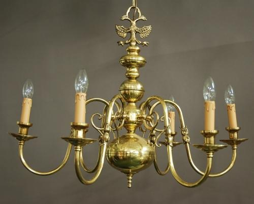 Dutch Baroque style six branch chandelier