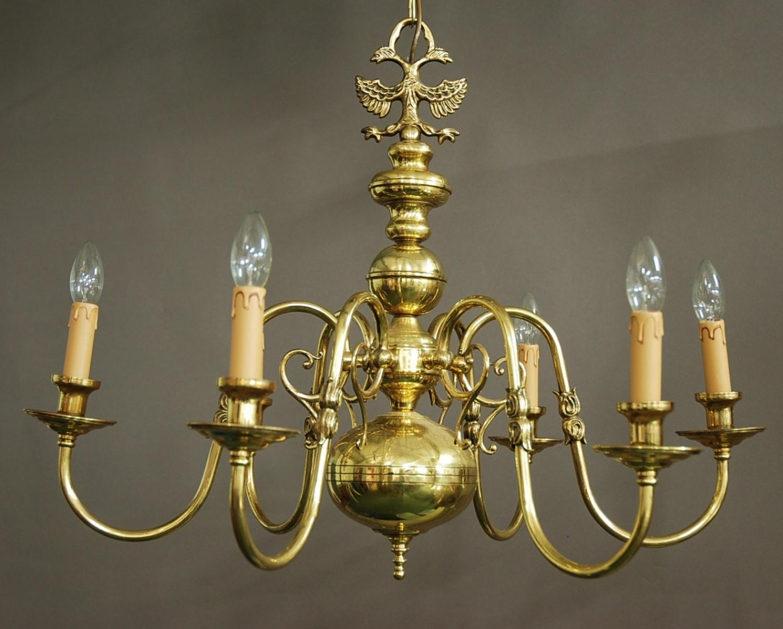 Dutch Baroque style six branch chandelier