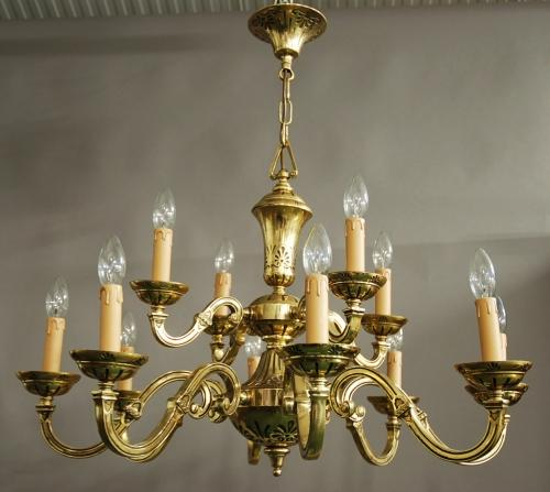 Decorative twelve branch brass chandelier