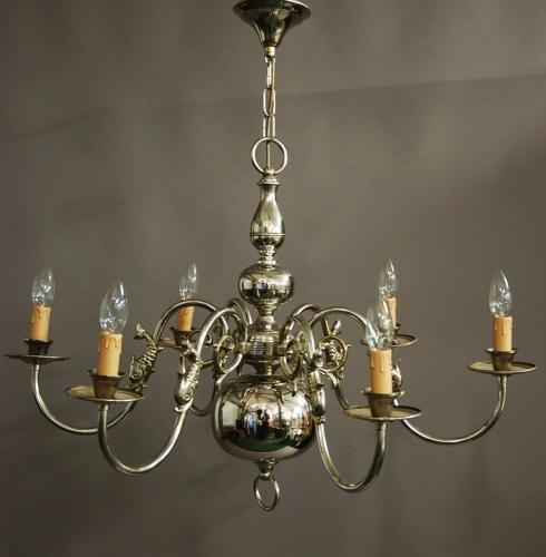 Chromed Dutch six branch brass chandelier