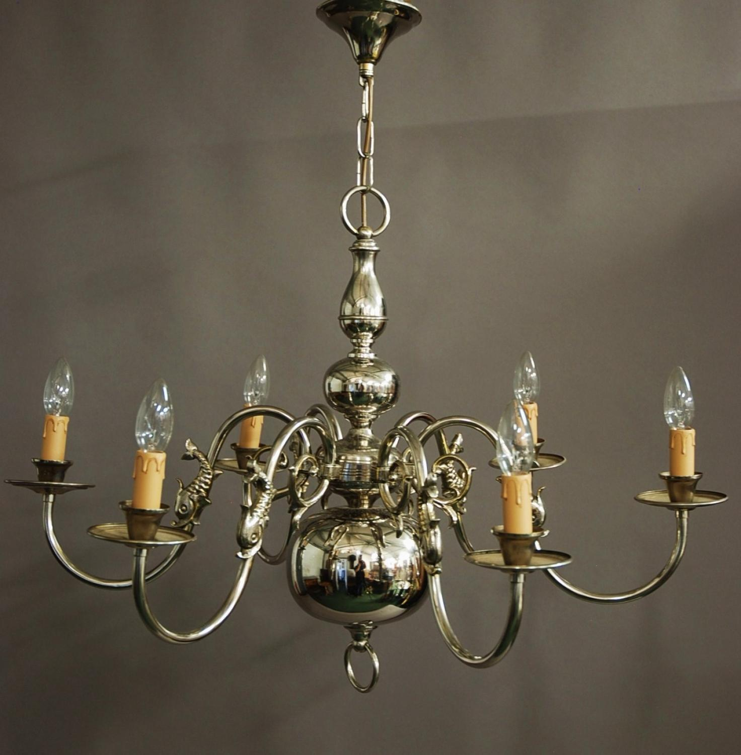 Chromed Dutch six branch brass chandelier in SOLD ARCHIVE