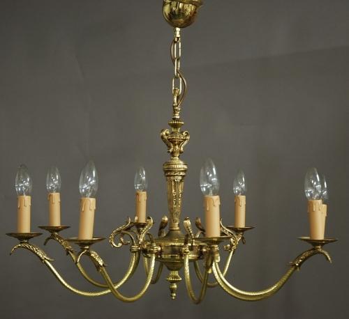 Edwardian eight branch brass chandelier
