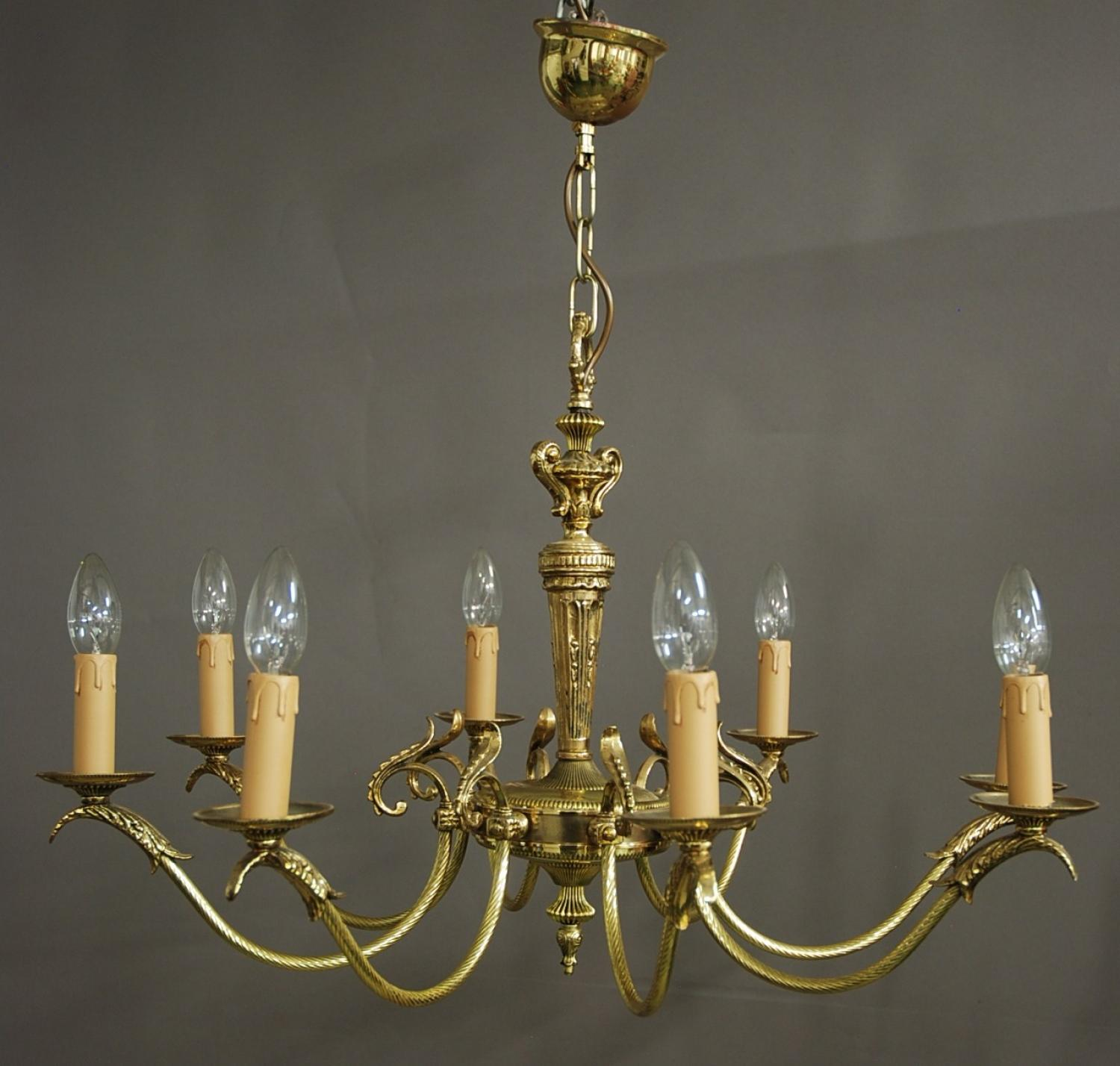 edwardian eight branch brass chandelier in sold archive. Black Bedroom Furniture Sets. Home Design Ideas