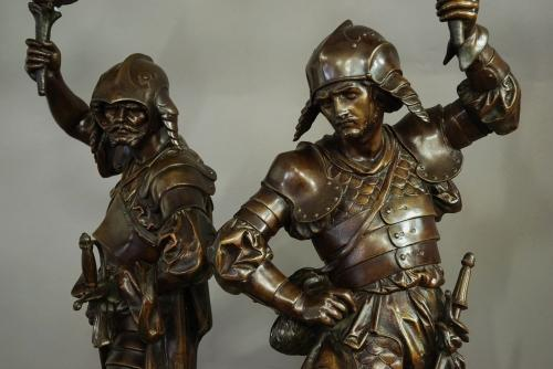 Superb large pair of French bronzed warriors