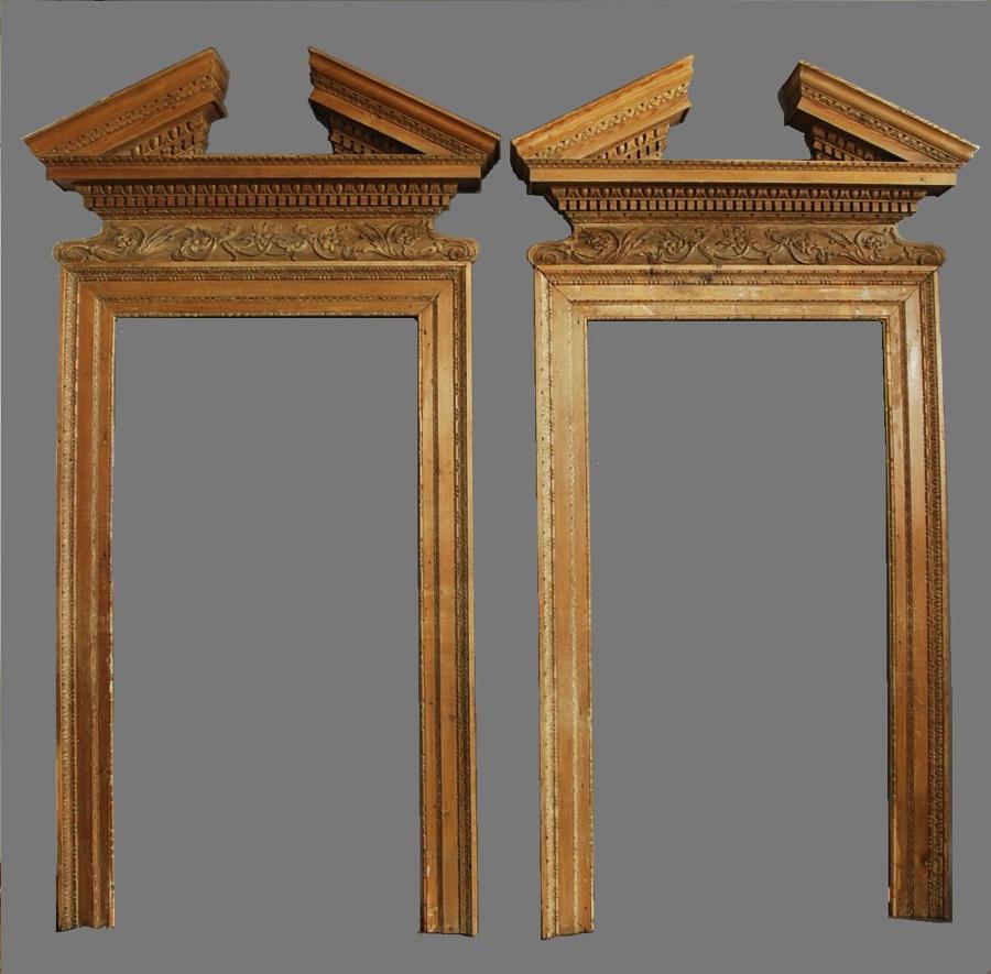 Impressive pair of 18thc pine door surrounds