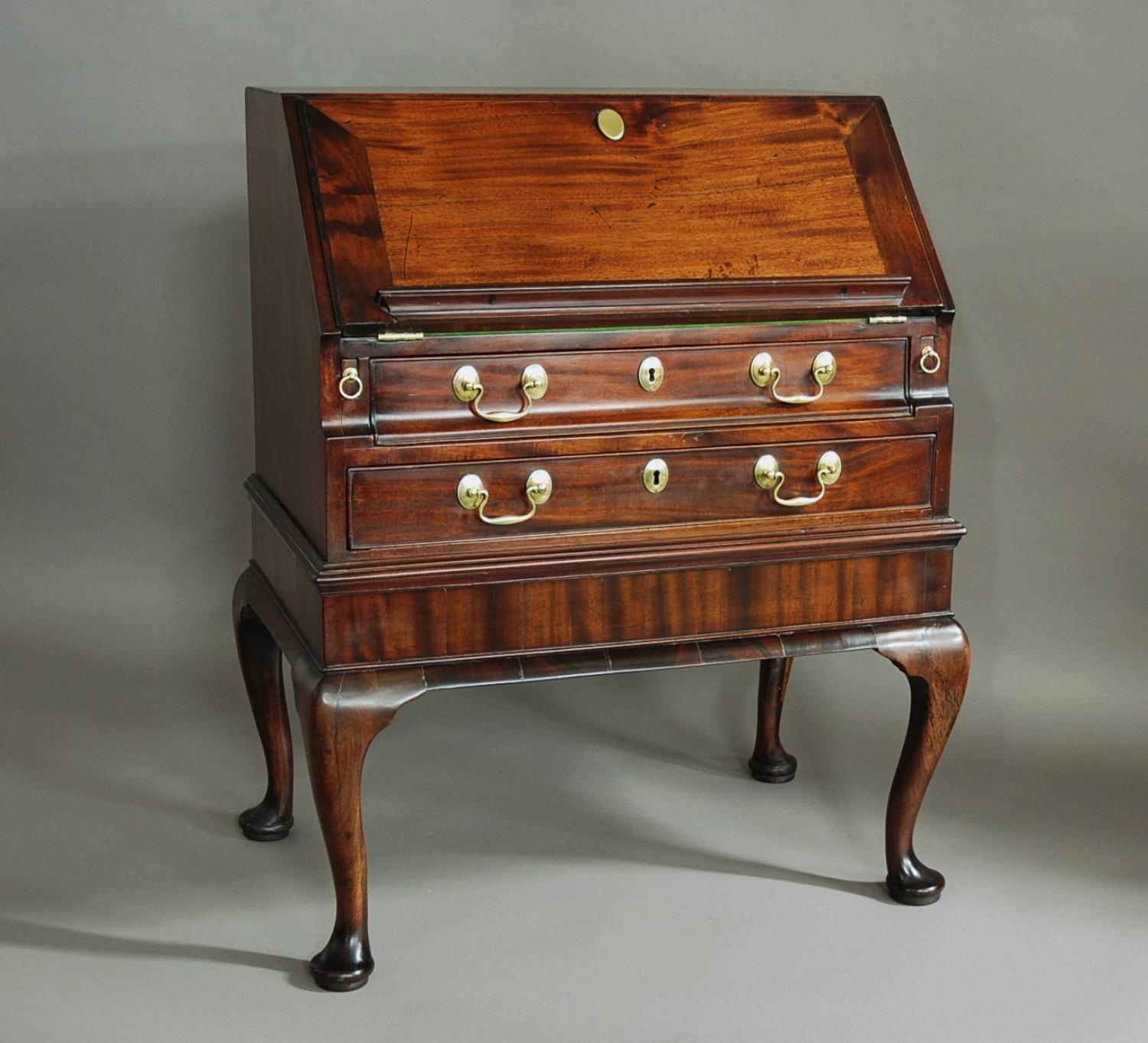 Small 18th century mahogany bureau on stand