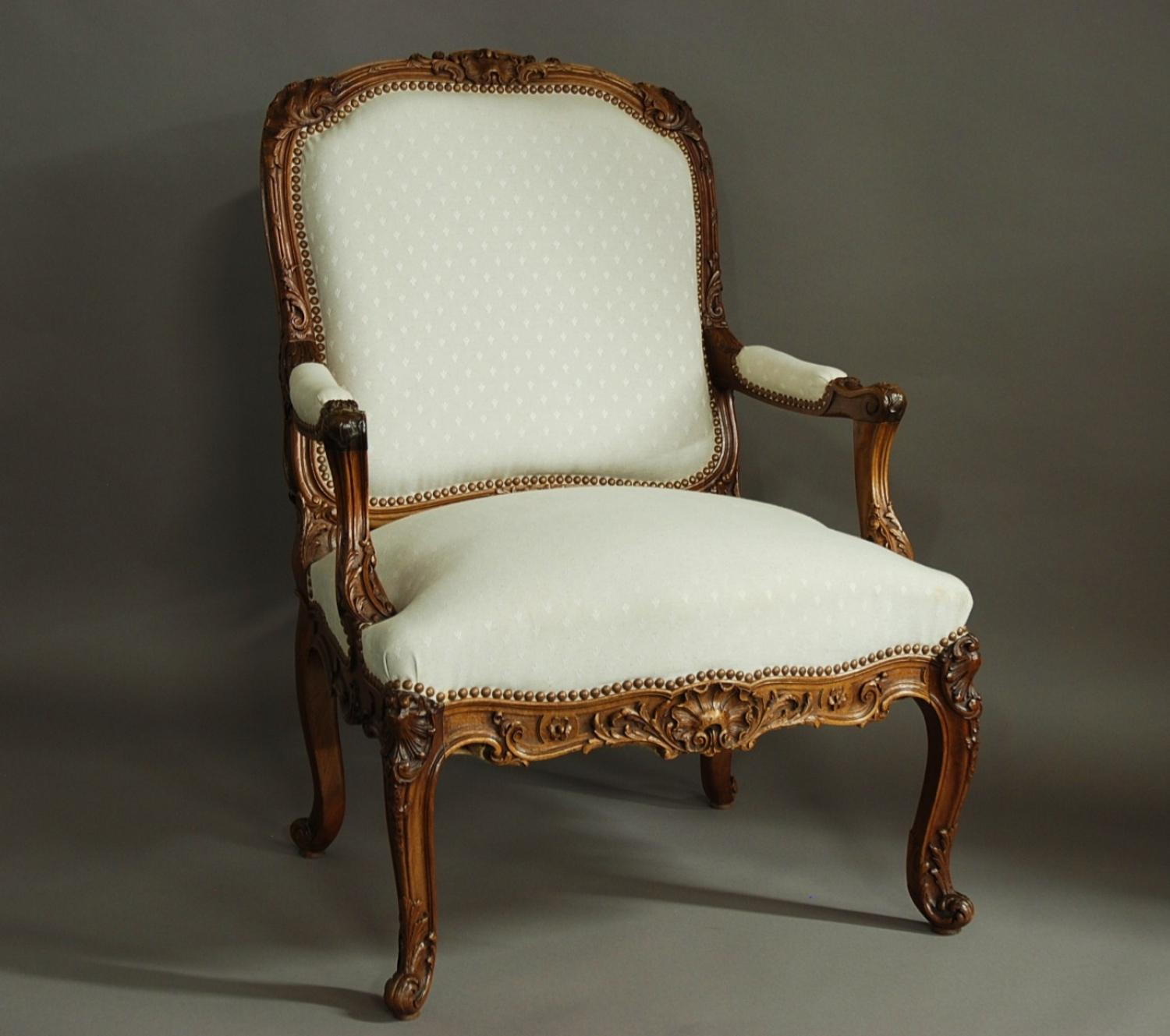 French late 19th century walnut fauteuil