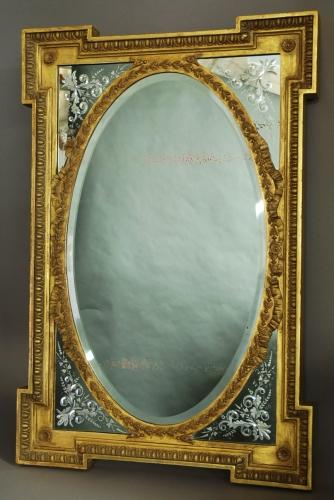 Late 19thc French giltwood & gesso mirror