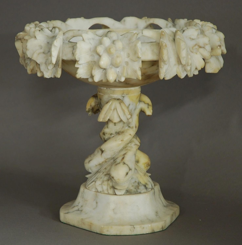19th century decorative alabaster tazza