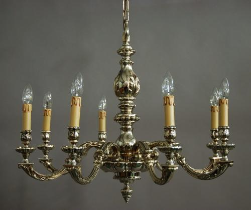 Large early 20thc Dutch silvered chandelier