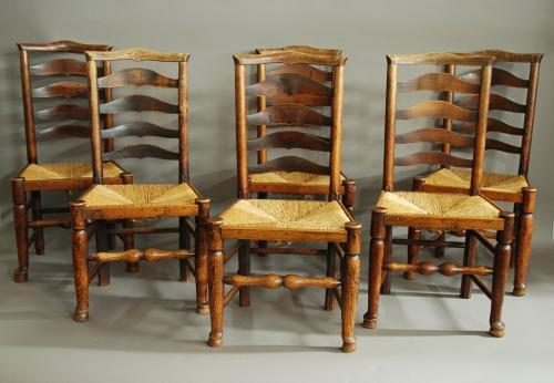 Set of six 19thc ash ladder back chairs