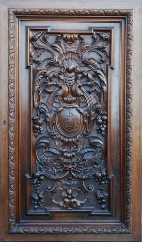 French late 19thc carved walnut panel