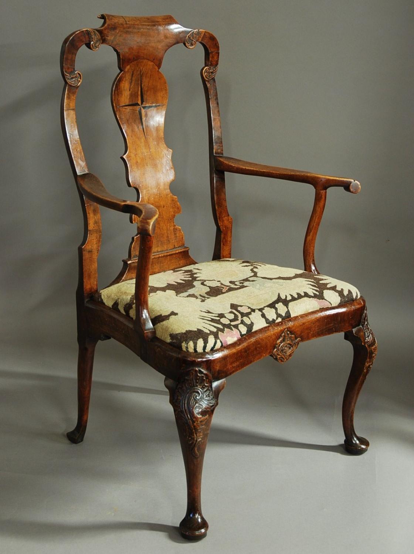 Dutch late 19thc Dutch walnut armchair