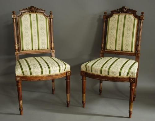Pair of French carved walnut chairs