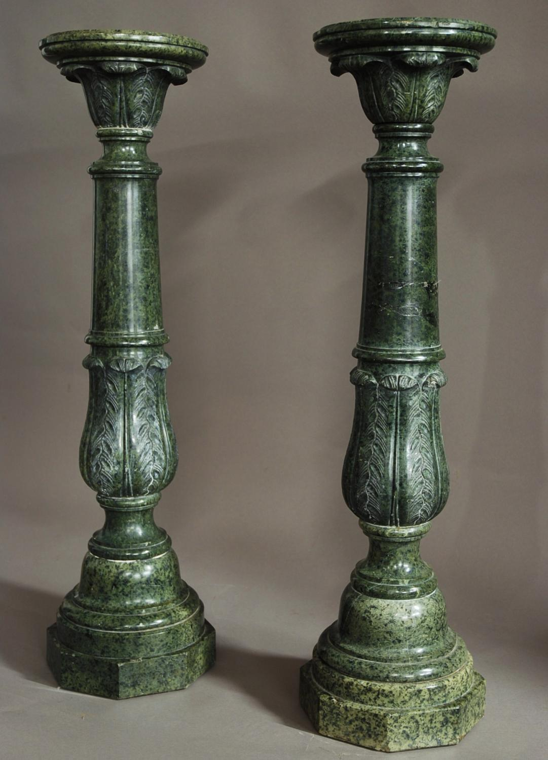 Pair of late 19thc serpentine marble columns