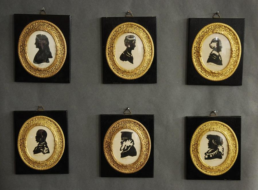 Superb set of six early 20th century decorative oval miniatures