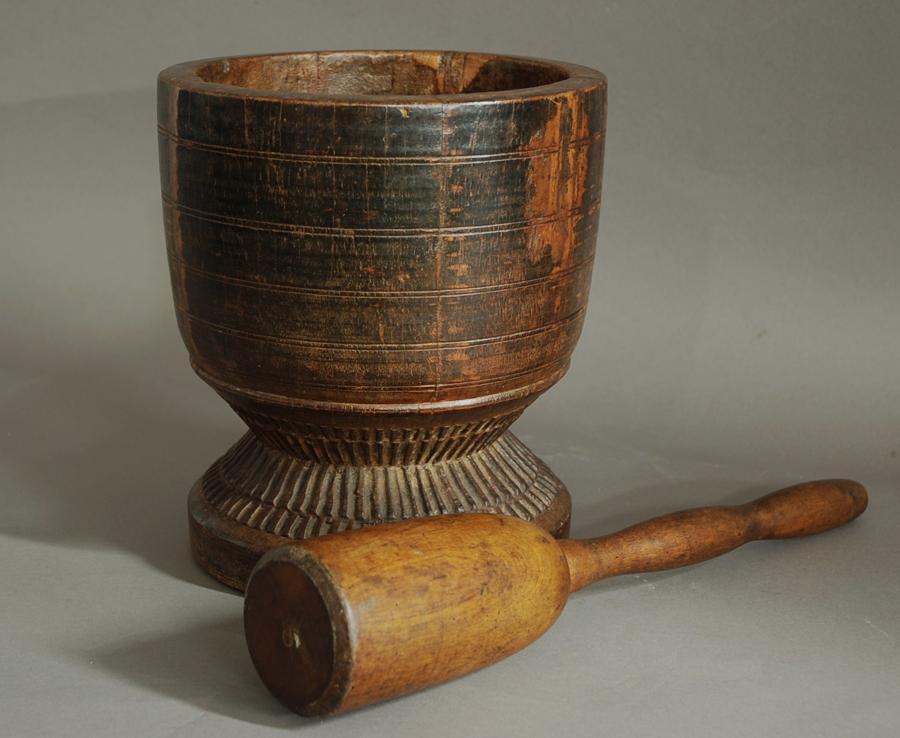 Large decorative hardwood pestle & mortar