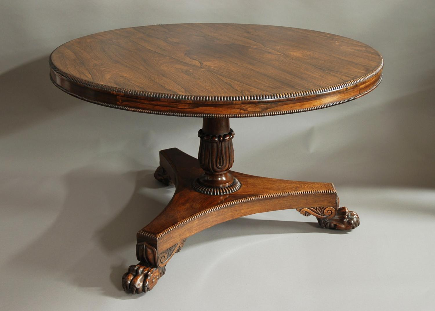 William IV superbly figured rosewood table
