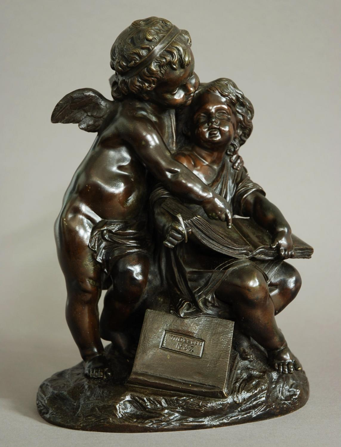 19thc French bronze of a putto and young girl