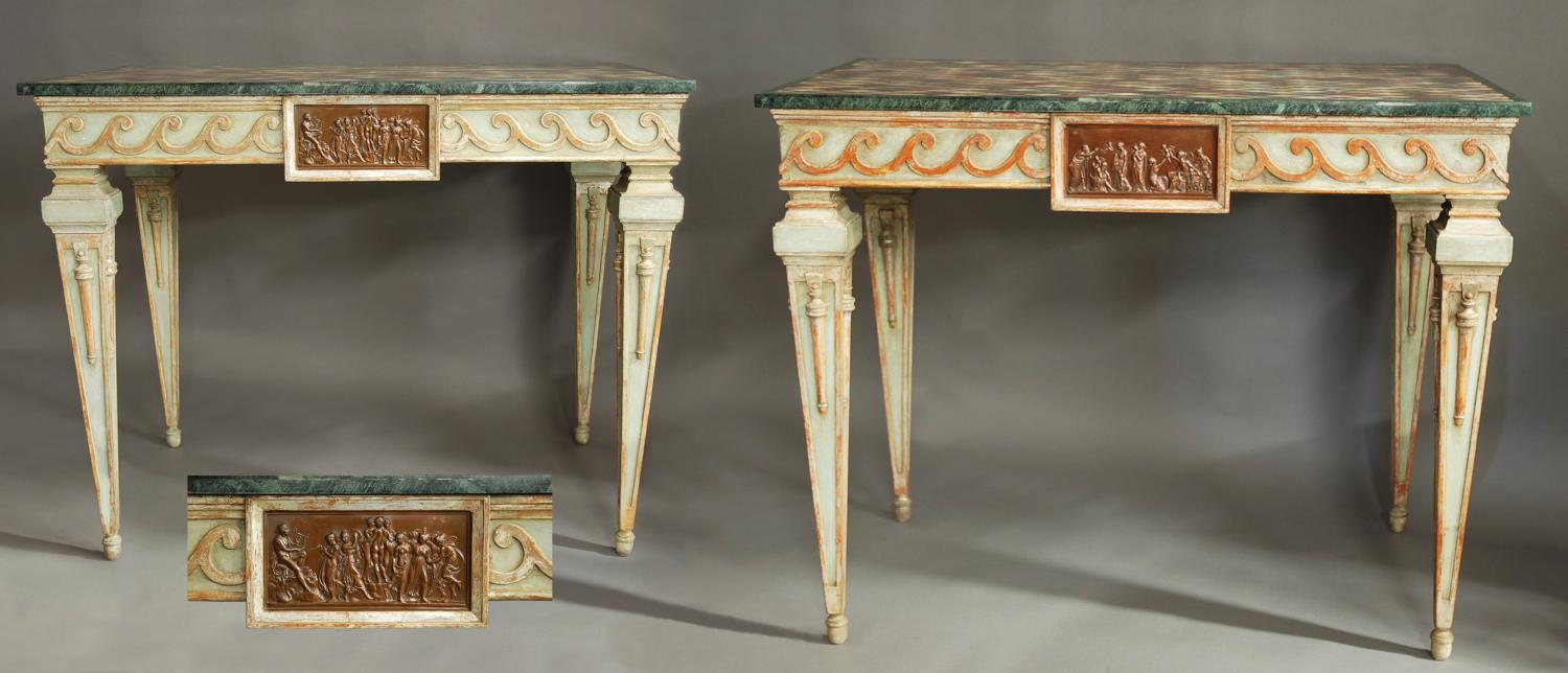Superb pair of painted Italian console tables